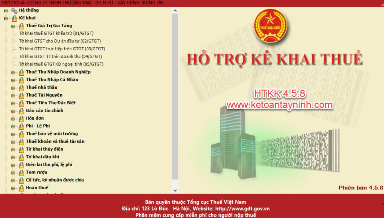 Kế Toán Tây Ninh: Thông báo về việc Nâng cấp phần mềm HTKK theo kiến trúc và công nghệ mới phiên bản 4.5.8